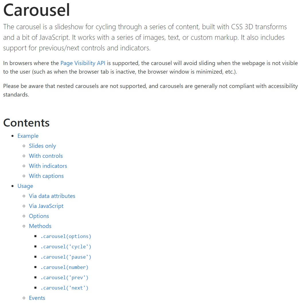 Bootstrap carousel  main documentation